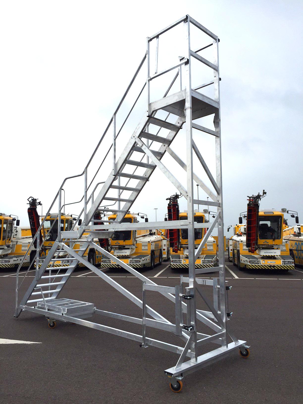 Vliegtuigtrap met twee niveaus en stabilisatoren
